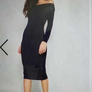 Off-the-shoulder dress in navy blue
